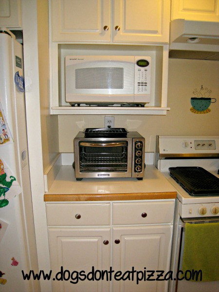 the finished kitchen renovation dogs don t eat pizza wall microwave open shelf cabinet aristokraft
