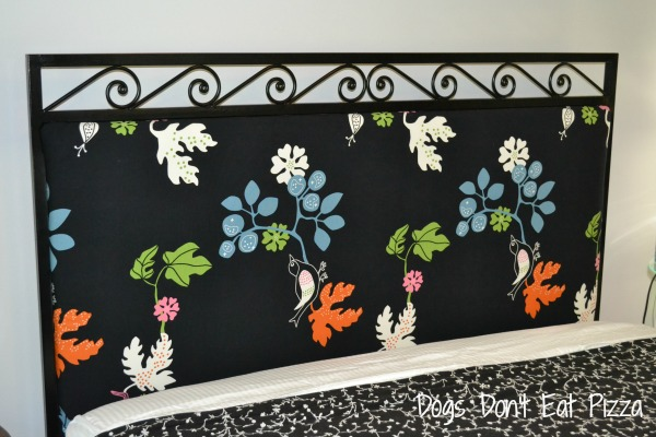 close up headboard, weekend project, upholstering a headboard, DIY weekend makeover