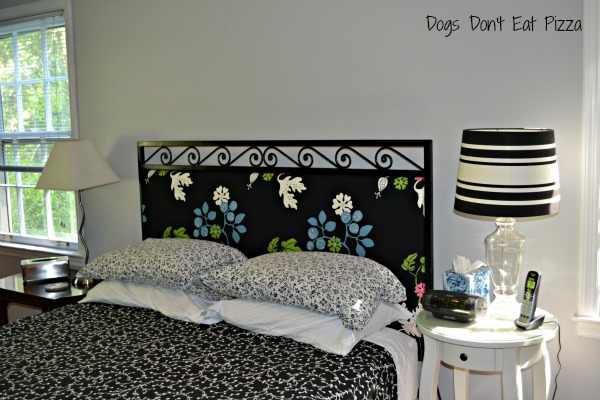 Mohawk Homescapes - finished headboard - Dogs Don't Eat Pizza, completed makeover, close up headboard, weekend project, upholstering a headboard, DIY weekend makeover