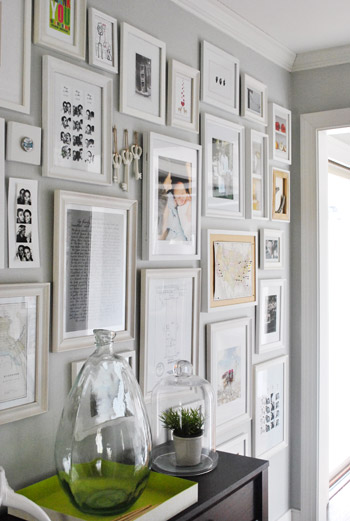 Young House Love gallery wall, quick decor changes, weekend decor, painted picture frames, thrift store frame, monochromatic