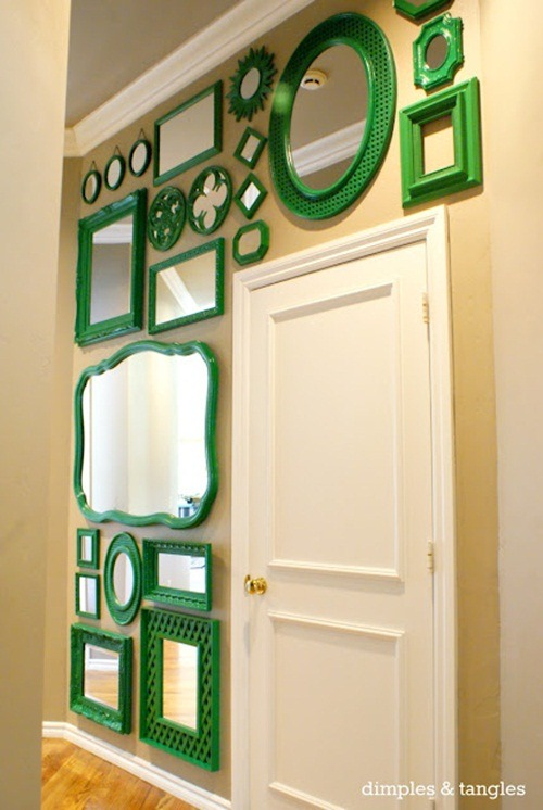monochromatic, dimples and tangles gallery wall with mirrors, quick decor changes, weekend decor, painted mirrors, thrift store mirrors