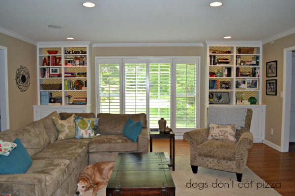 living room finished, how-to,attaching fabric, inexpensive materials, easy weekend project, decor change-up
