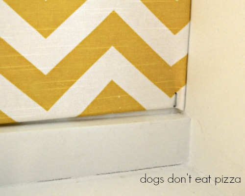 stapled corner, attaching fabric, measure and tape poster board, inexpensive materials, easy weekend project, decor change-up