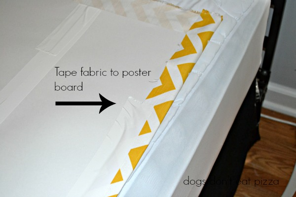 tape fabric to poster board, how-to, measure and tape poster board, inexpensive materials, easy weekend project, decor change-up