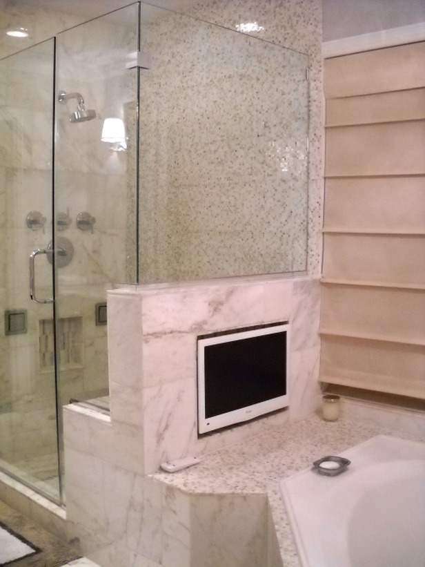 DIY Network, TV in the bathroom, high-tech bathrooms, bathroom trends, bathroom ideas, spa feel,