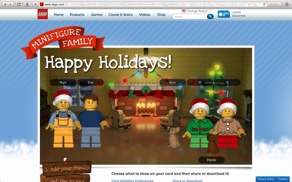 Finished LEGO Minifigure Family Holiday Card