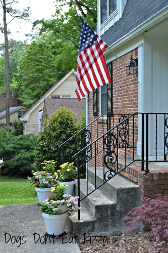 front step with flag - curb appeal - Mohawk Homescapes