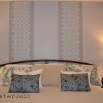 stenciled-wall-behind-headboard - accent wall - Mohawk Homescapes