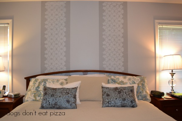 stenciled-wall-behind-headboard - stenciling - Dogs Don't Eat Pizza