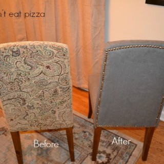 How to reupholster parsons chairs - it's easy and you can do it in one afternoon! From dogsdonteatpizza.com