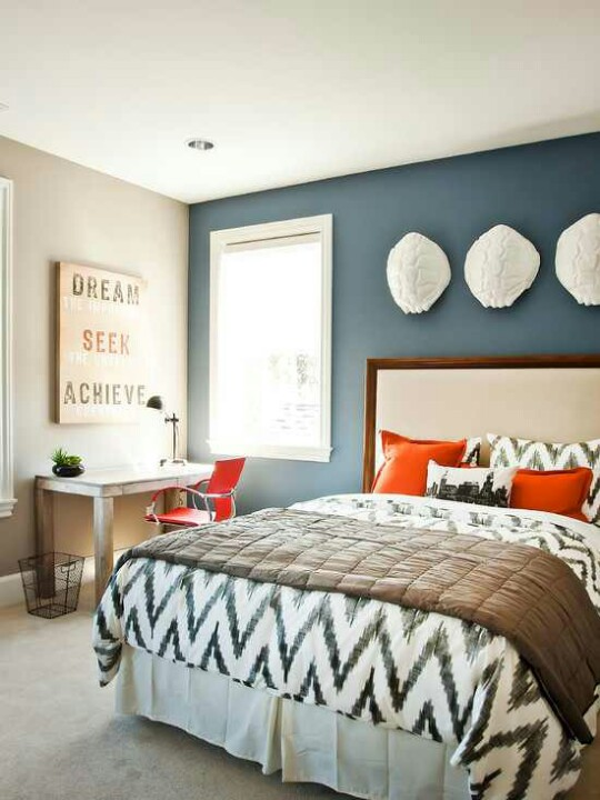 blue and orange guest bedroom color showcase mohawk homescapes