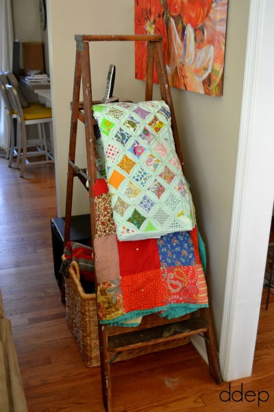 Keep quilts on ladder behind the couch - cozy spaces - Mohawk Homescapes