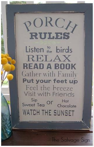 update-outdoor-space - Porch-Rules-Sign - Salvage-Sign - Mohawk Homescapes