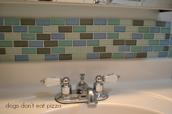 grouted tile backsplash - update bath on a budget - Mohawk Homescapes
