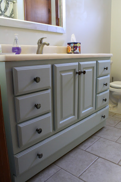 painted vanity from Primitive and Proper - update bath on budget - Mohawk Homescapes