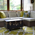 trunk as outdoor coffee table on porch - Dogs Don't Eat Pizza