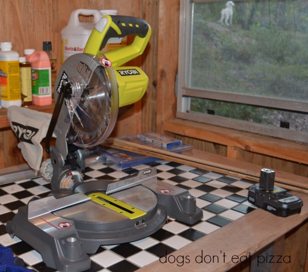 RYOBI 18V ONE+ miter saw - Christmas countdown chalkboard - Dogs Don't Eat Pizza
