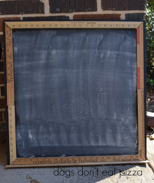 chalk dust on Christmas countdown chalkboard - Dogs Don't Eat Pizza