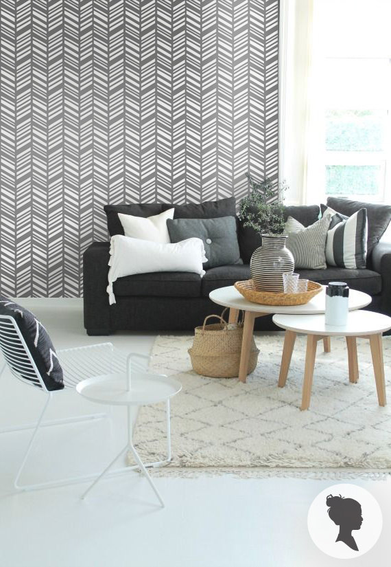 herringbone wallpaper - accent walls - Mohawk Homescapes