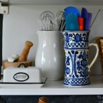 utensils in bright blue pitcher - happy mood makeover - Mohawk Homescapes