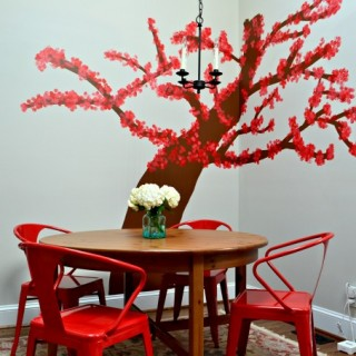 I redid my breakfast room with a bright tree and pops of red - Dogs Don't Eat Pizza
