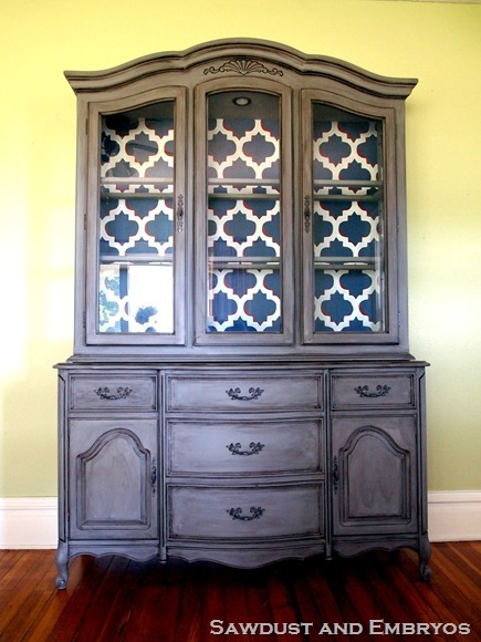 painted china cabinet from Sawdust and Embryos - reinventing traditional pieces - Mohawk Homescapes