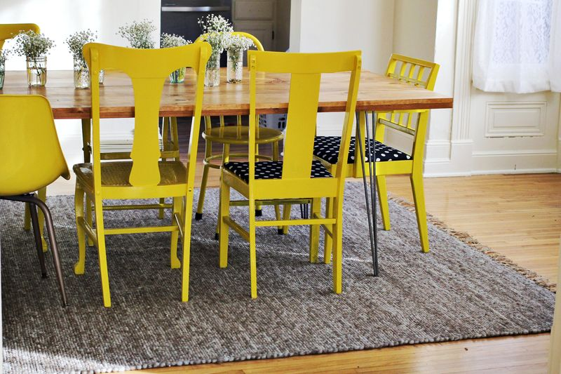 painting dining chairs from A Beautiful Mess - reinventing traditional pieces - Mohawk Homescapes