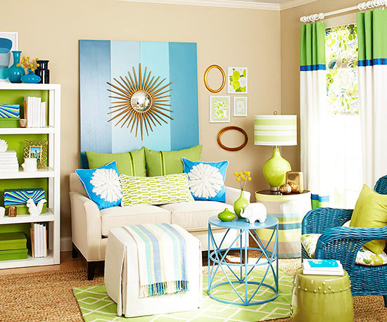 colorful living room - homes and gardens using color - Mohawk Homescapes