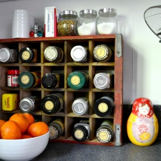 Coke crate spice rack - painted kitchen - Dogs Don't Eat Pizza