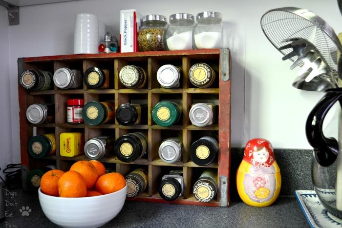Coke crate spice rack - farmhouse style - Mohawk Homescapes