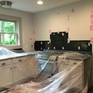 kitchen covered and ready for paint - how to prepare a room for painting - Dogs Don't Eat Pizza