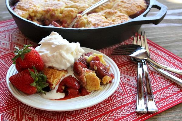 Strawberry-Shortcake-Skillet-Cobbler - fast and fresh summer recipes - Mohawk Homescapes