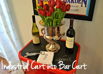 Turn an industrial cart into a bar cart - dogsdonteatpizza.com