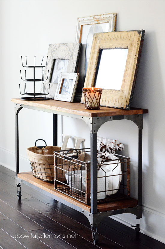 Industrial shelving and crates from A Bowl Full of Lemons blog - industrial chic - Mohawk Homescapes