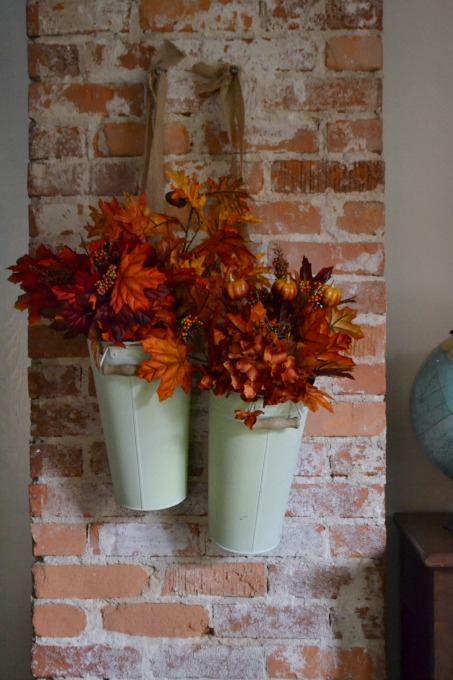 Leaves in pails on chimney - Harvest Elegance and Farmhouse Touches - Mohawk Homescapes