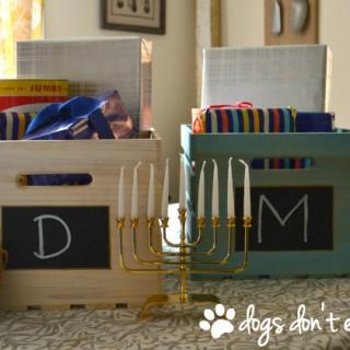 Sawdust & Snow Personalized Hanukkah Gift Crates with logo - dogsdonteatpizza.com