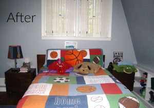 Boy's bedroom perfect for a sports fan - thediybungalow