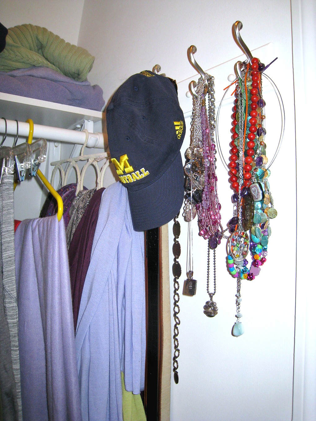 Jewelry organization in an organized closet in one afternoon - TheDIYBungalow.com