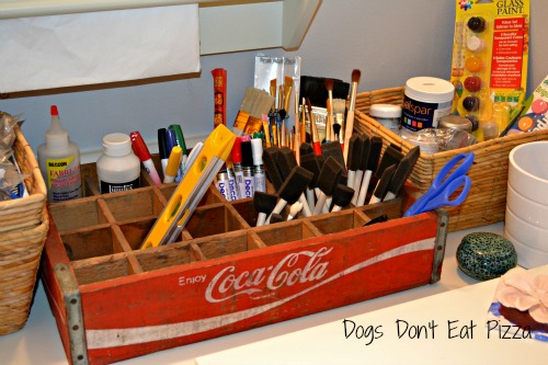 Coke crate as craft caddy - Five Ways to Use a Vintage Coke Crate - thediybungalow.com