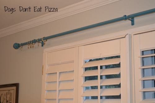 finished curtain rod painted
