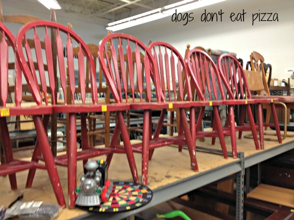 red chairs at thrift store