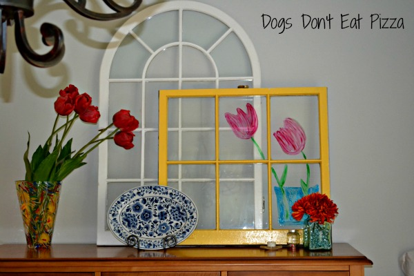 painted tulips on window - five uses for old windows - Dogs Don't Eat Pizza