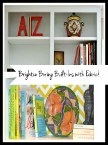 Add a pop of color to built-ins with fabric! Easy, inexpensive, and totally customizable! From thediybungalow.com