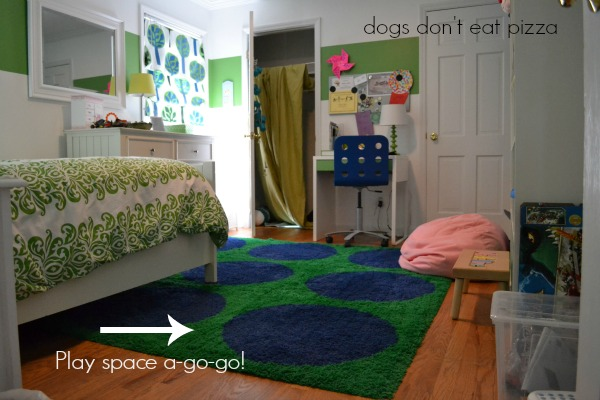 daughter's room rearranged - play space - Dogs Don't Eat Pizza