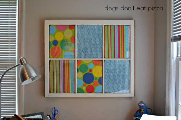 memo board front view - five uses for old windows - Dogs Don't Eat Pizza