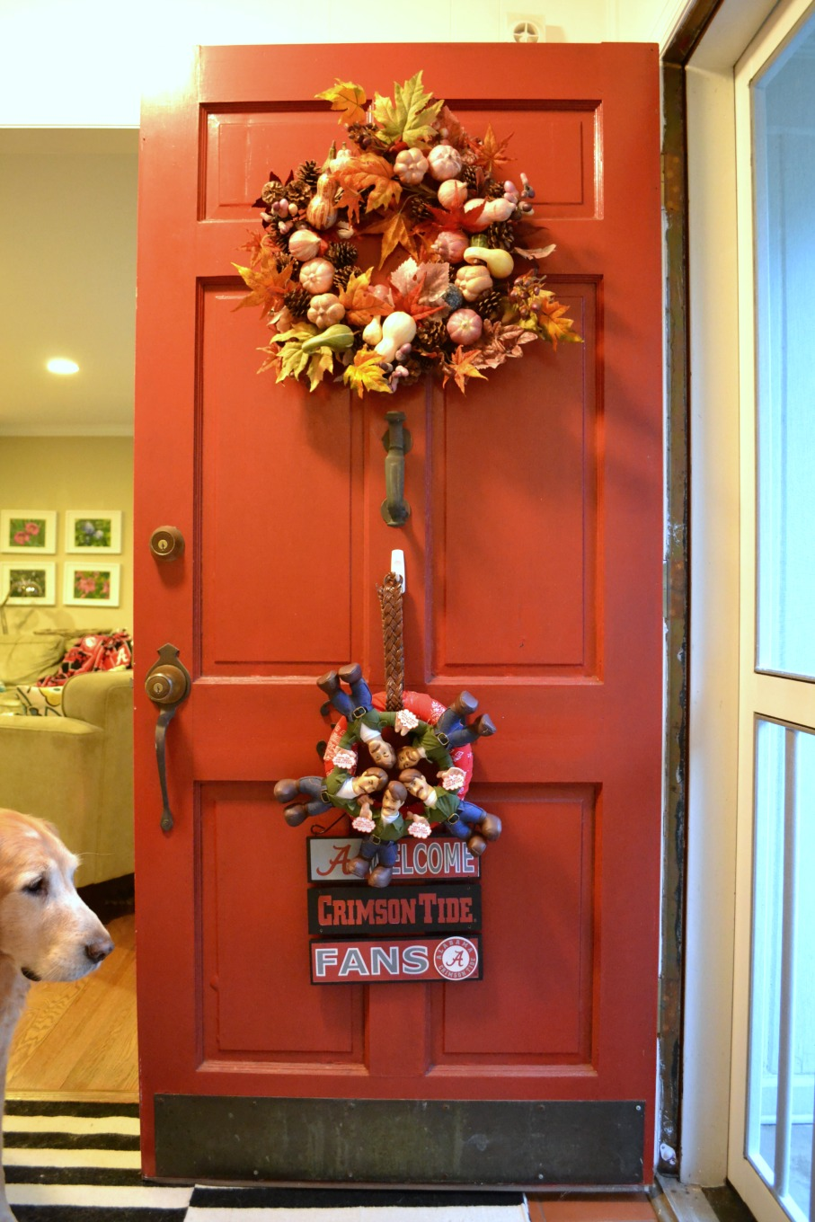 Fall decor with You Might Be a Redneck Wreath - thediybungalow.com