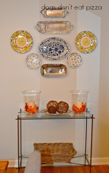 Plate wall in the redecorated dining room - thediybungalow.com