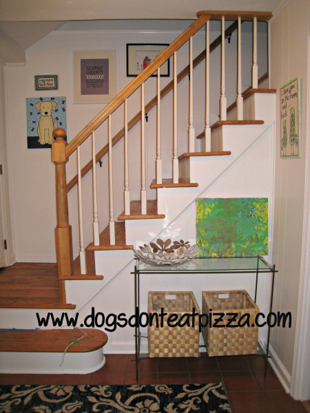 stairs entry - glass table - Dogs Don't Eat Pizza