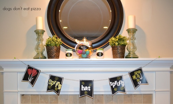 How to make a spring chalkboard banner for a spring mantel - thediybungalow.com