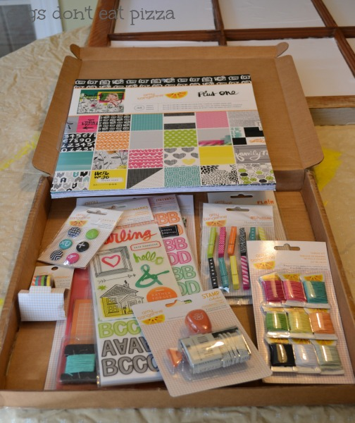 Amy-Tangerine-box-craft-supplies for sprucing up window memo board - thediybungalow.com